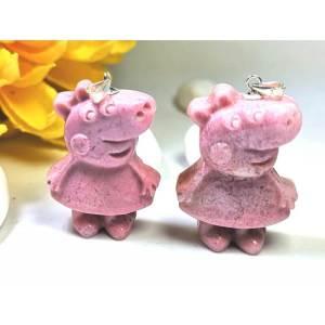 Rhodonite Peppa Pig Crystal Pendant