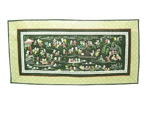 Silk Embroidered Picture Of Hundred Children - Villa and Lake1