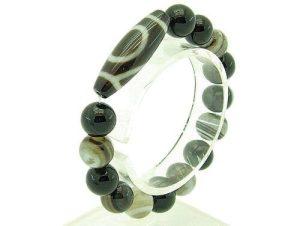 Single Eyed Dzi With 12Mm Round Agate Bracelet1