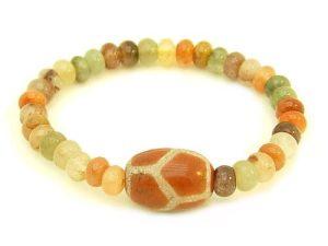 Tortoise Shell Dzi Bead w Fuk Luk Sau Rutilated Bracelet1