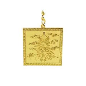The gold-plated Chi Lin Victory Banner Amulet is a powerful talisman for good luck, prosperity, career success, and protection from harm.