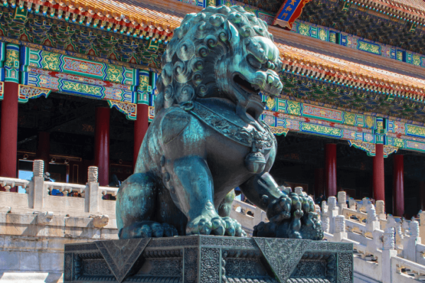 A Fu Dog statue outside a Chinese temple