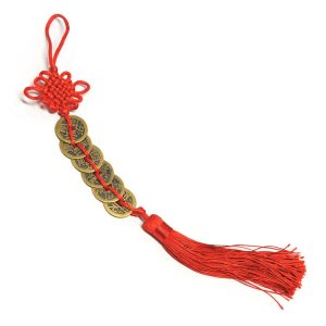 This is a Six Chinese Coins amulet stringed in series with a bright red string with a Mystic knot and a tassel to empower the Chi of the coins.