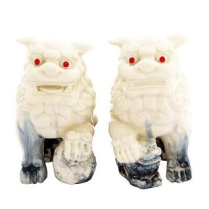 1 Pair of white marble Fu dogs
