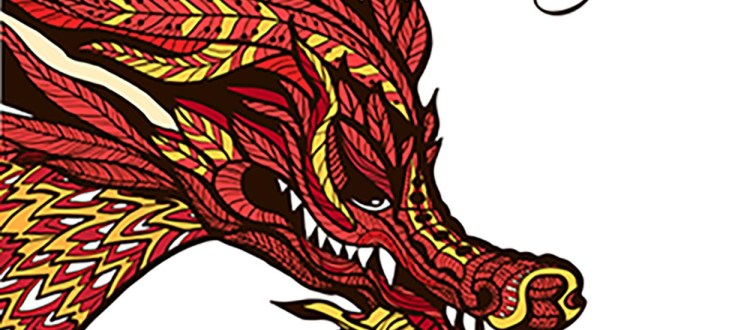 Hand drawn chinese dragon head with colored ornament vector illustration