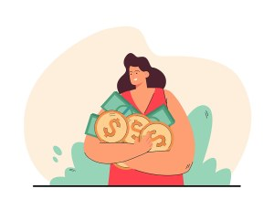 Happy woman holding coins and banknotes in hands.