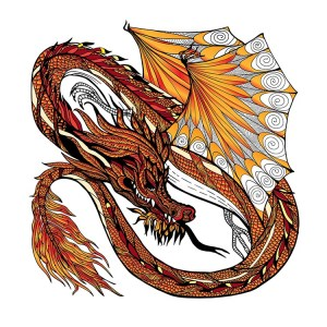 Traditional asian dragon isolated on white background hand drawn colored vector illustration