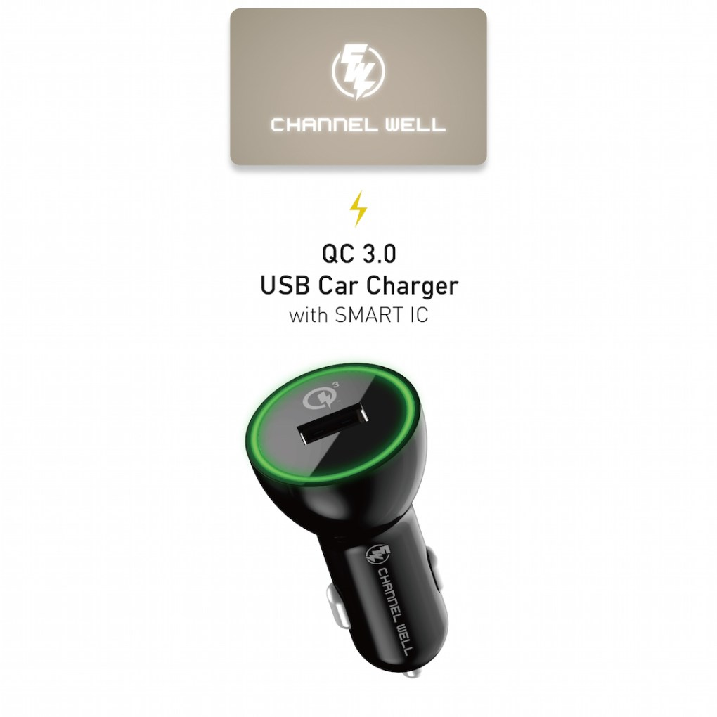 CHANNEL WELL 單孔 QC 3.0 快速車充 (充電速度提升80%) - CarCharger QC 3.0 new 01