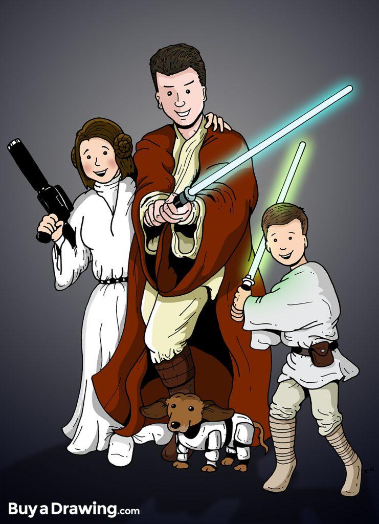 Star Wars Cartoon Family Portrait Drawing