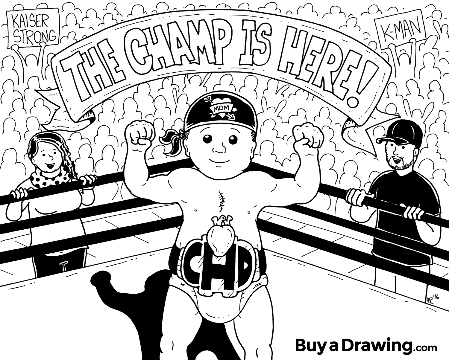 Wrestling Champion Baby Cartoon Drawing Caricature
