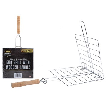 BBQ Grill Chrome Plated with Wooden Handle