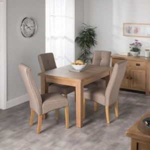 Cotswold Oak Dining Table Set With 4 Brown Milan Chairs