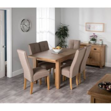 Cotswold Oak Medium Dining Table Set With 6 Brown Milan Chairs