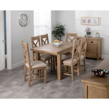 Cotswold Oak Medium Dining Table Set With 6 Cross Back Chairs