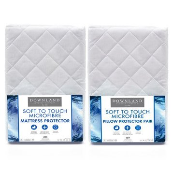 Downland Soft To Touch Satin Stripe Anti Bacterial Double Mattress Protector & Pillow Protector (Pair)