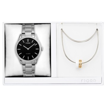 Fjord Ladies' Vendela Watch with Stainless Steel Bracelet and Necklace Gift Set