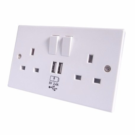 Group Gear 2.4A 2 way UK Power Socket With USB Charging Plate Outlet