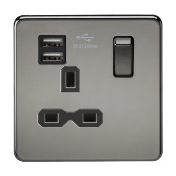 KnightsBridge 13A 1G Screwless Black Nickel 1G Switched Socket with Dual 5V USB Charger Ports - White Insert