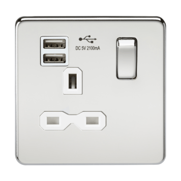 KnightsBridge 13A 1G Screwless Polished Chrome 1G Switched Socket with Dual 5V USB Charger Ports - White Insert