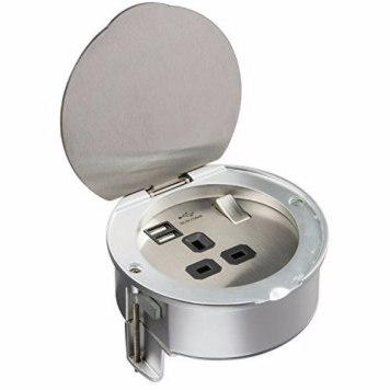 KnightsBridge 13A 1G Stainless Steel Recessed Desk Top and Floor Socket with Twin 5V USB Charger Ports