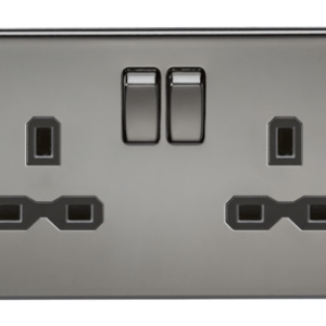 KnightsBridge 13A 2G DP Screwless Black Nickel 230V UK 3 Pin Switched Electric Wall Socket - Black Insert