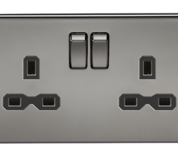 KnightsBridge 13A 2G DP Screwless Black Nickel 230V UK 3 Pin Switched Electric Wall Socket - Black Insert
