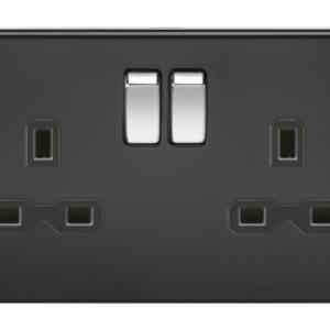 KnightsBridge 13A 2G DP Screwless Matt Black 230V UK 3 Pin Switched Electric Wall Socket