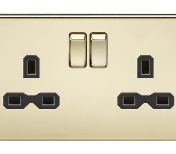 KnightsBridge 13A 2G DP Screwless Polished Brass 230V UK 3 Pin Switched Electric Wall Socket - Black Insert
