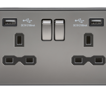KnightsBridge 13A 2G Screwless Black Nickel 2G Switched Socket with Dual 5V USB Charger Ports - Black Insert