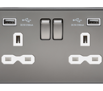KnightsBridge 13A 2G Screwless Black Nickel 2G Switched Socket with Dual 5V USB Charger Ports - White Insert