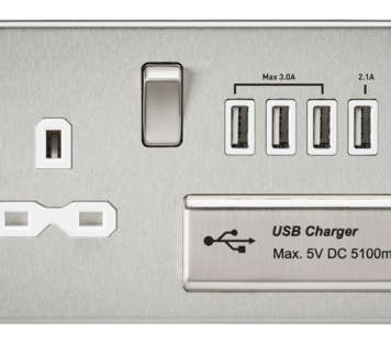 KnightsBridge 13A 2G Screwless Brushed Chrome 1G Switched Socket with Quad 5V USB Charger Ports - White Insert