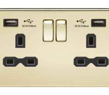 KnightsBridge 13A 2G Screwless Polished Brass 2G Switched Socket with Dual 5V USB Charger Ports - Black Insert