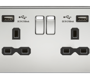 KnightsBridge 13A 2G Screwless Polished Chrome 2G Switched Socket with Dual 5V USB Charger Ports - Black Insert