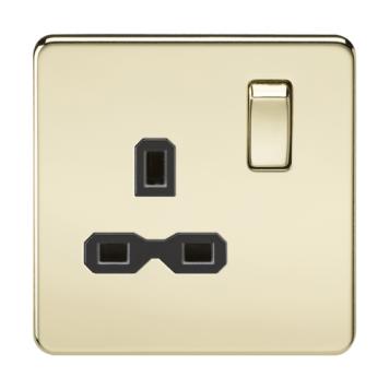 KnightsBridge 1G DP 13A 230V Screwless Polished Brass UK 3 Pin Switched Electrical Wall Socket - Black Insert