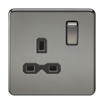 KnightsBridge 1G DP 13A Screwless Black Nickel 230V UK 3 Pin Switched Electrical Wall Socket - Black Insert