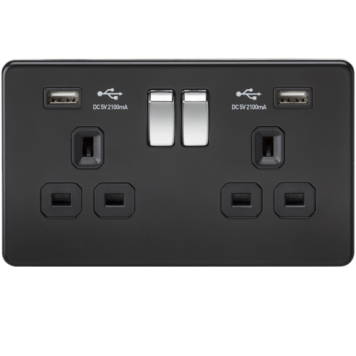 KnightsBridge 2G 13A Matt Black 2G Switched Socket with Dual 5V USB Charger Ports - Black Insert