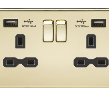 KnightsBridge 2G 13A Screwless Polished Brass 2G Switched Socket with Dual 5V USB Charger Ports - Black Insert