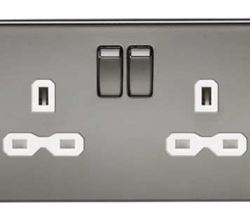 KnightsBridge 2G DP 13A Screwless Black Nickel 230V UK 3 Pin Switched Electric Wall Socket - White Insert