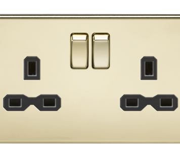 KnightsBridge 2G DP 13A Screwless Polished Brass 230V UK 3 Pin Switched Electric Wall Socket - Black Insert