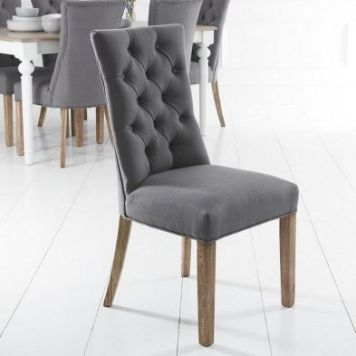Lancelot Curved Back Dining Chair Grey With Button Detailing