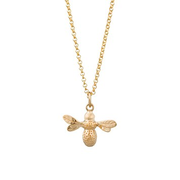 Lily Charmed Sterling Gold Bee Necklace