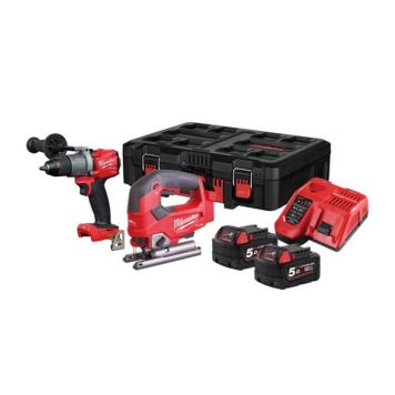 Milwaukee Power Tools M18FPP2K2-502P 18v Combi Drill/Jigsaw Kit 2 x 5ah Li-ion Batteries