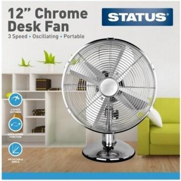 "Status 12"" Chrome Desk Fan"