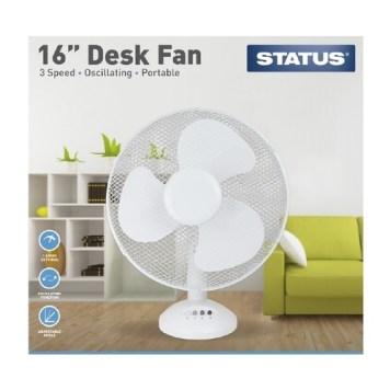 """Status 16"""" White Desk Fan"""