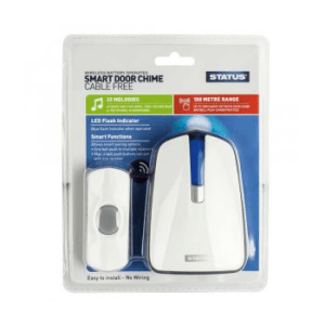 Status Wireless Plug in Door Chime with Strobe - White