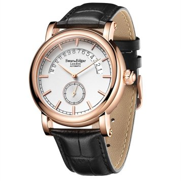 Swan & Edgar Gent's City Timer Automatic Date Watch with Genuine Leather Strap