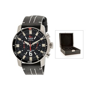 Vostok Europe Gent's Chronograph Ekranoplan Watch with Stainless Steel Case, Interchangeable Strap and Luxury Box