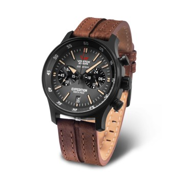 Vostok Europe Gent's Expedition N1 Chronograph Watch with PVD Case and Genuine Leather Strap