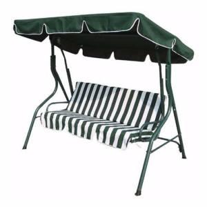 Zexum 3 Seater Green & White Swinging Outdoor Garden Hammock Bench