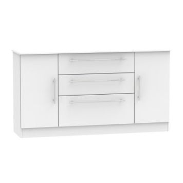 Colby Wide Sideboard White 2 Door 3 Drawer